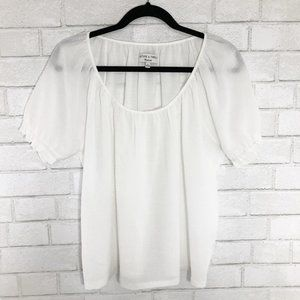 Madewell Texture & Thread White Peasant Top, Large